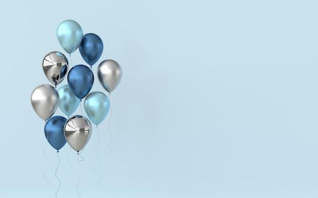 Illustration de ballons bleus et argent brillants sur fond de couleur pastel