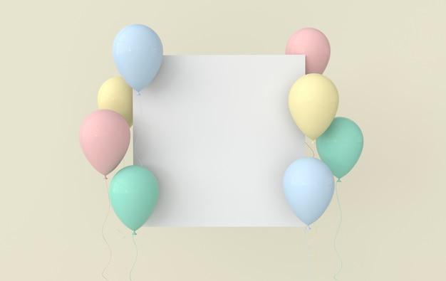 Illustration de ballons colorés brillants sur fond pastel