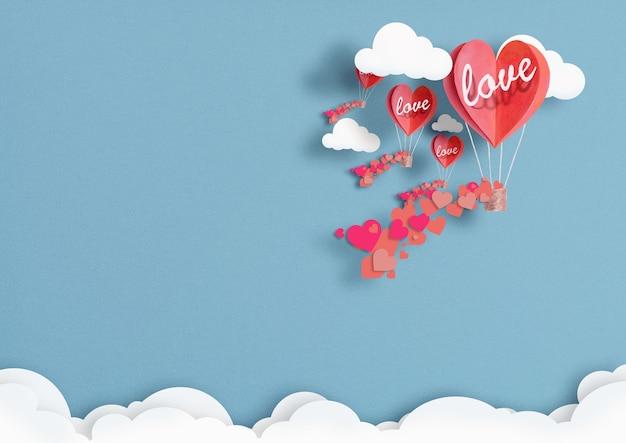 Illustration de ballons en forme de coeurs volant dans le ciel.
