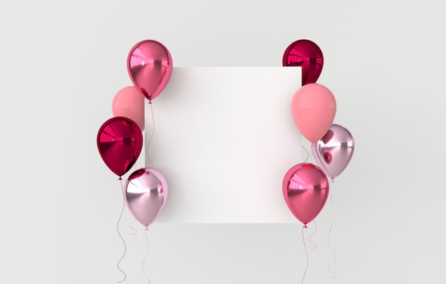 Illustration de ballons d'or rose rouge et rose brillant
