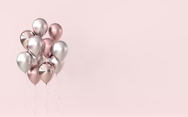 Illustration de ballons roses sur fond pastel