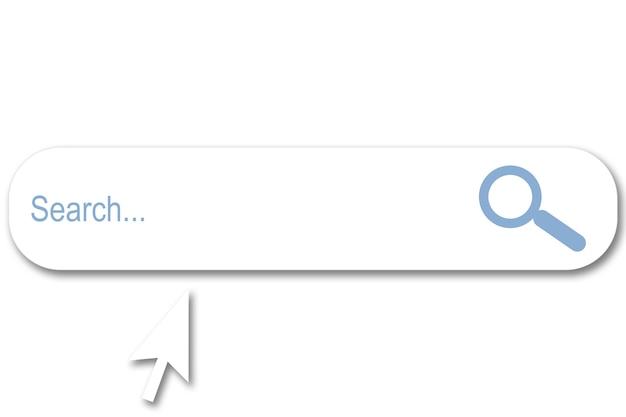 Illustration d'une barre de recherche sur fond blanc et curseur blanc