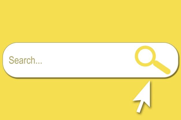 Illustration d'une barre de recherche sur fond jaune et curseur blanc