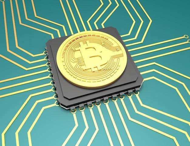 Illustration de bitcoin sur fond. illustration de rendu 3d
