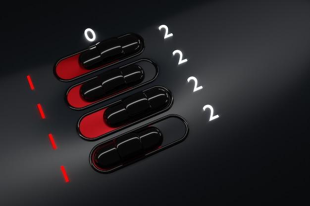 Illustration des boutons de l'interrupteur marche / arrêt avec et lettrage signe ou symbole de début