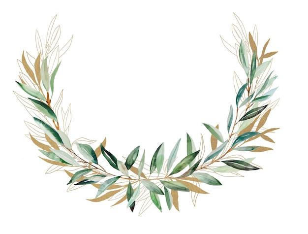 Illustration de cadre aquarelle branche d'olivier or