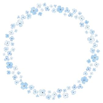 Illustration de cadre aquarelle fleurs bleues
