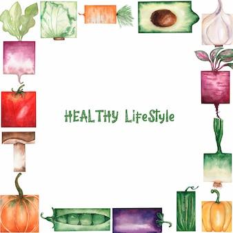 Illustration de cadre aquarelle légumes biologiques de jardin.