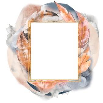 Illustration de cadre aquarelle plumes abstraites dessinés à la main.