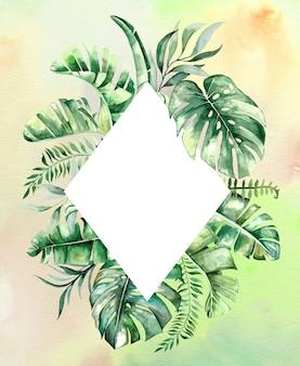 Illustration de cadre de feuilles tropicales aquarelle avec fond aquarelle