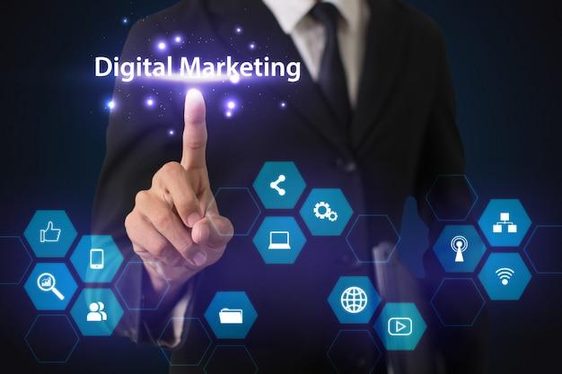 Illustration de canaux de marketing numérique interactif