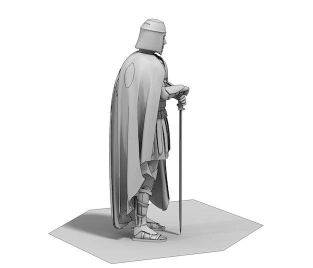 Illustration de caractère guerrier rendu 3d
