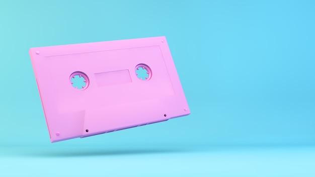 Illustration de cassette rétro rose rendu 3d
