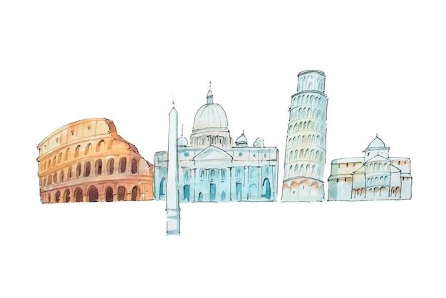 Illustration célèbre aquarelle de monuments et voyages italiens.