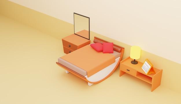 Illustration de chambre minimaliste design 3d
