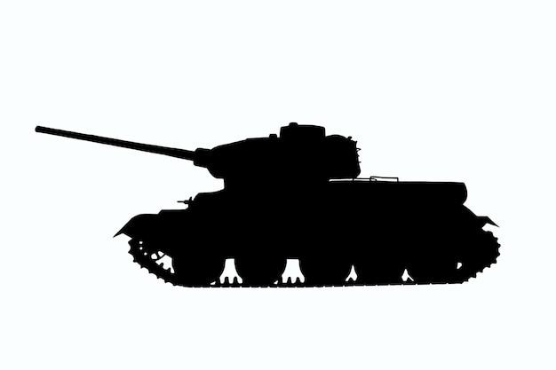 Illustration d'un char t-34 soviétique noir avec de fins détails sur un fond de détourage blanc. vue de côté