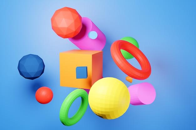 Illustration colorée 3d gros plan. différentes formes géométriques: cube, cylindre, sphère sont placées à la même distance. formes géométriques simples volant