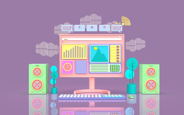 Illustration de concept de marketing numérique de médias sociaux rendu 3d mignon