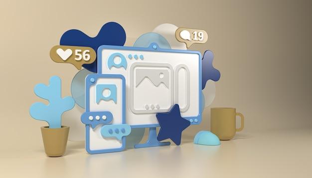 Illustration de concept de style 3d de médias sociaux avec smartphone, ordinateur, tasse et fleur