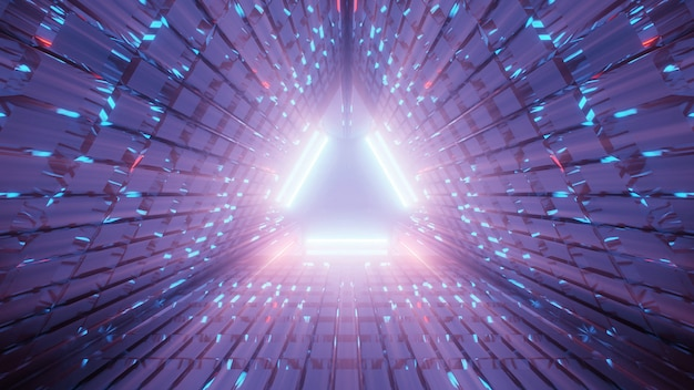 Illustration d'un couloir triangulaire composé de lignes violettes et bleues