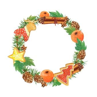 Illustration de couronne de pin de noël, pain d'épice, cônes, mandarines, couronne de cannelle clipart