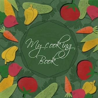 Illustration de la couverture d'un livre de cuisine avec des légumes dessinés.