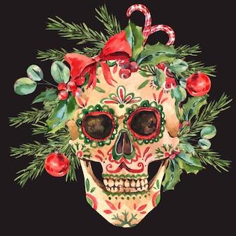 Illustration de crâne de sucre aquarelle. bad santa carte de voeux de noël dans un style vintage sur fond noir