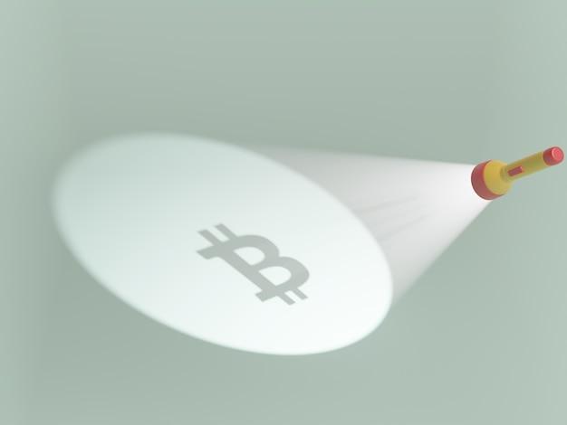 Illustration de dessin animé stylisé en 3d avec lampe de poche bitcoin