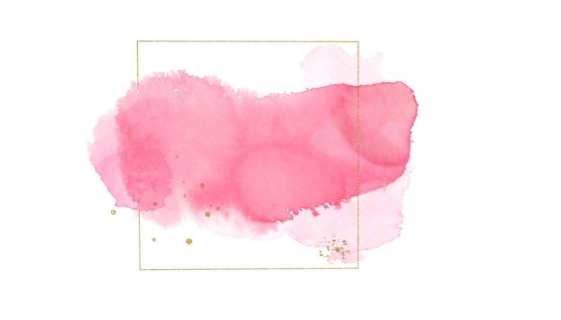 Illustration dessinée à la main de l'aquarelle d'encre rose de beauté et du cadre doré
