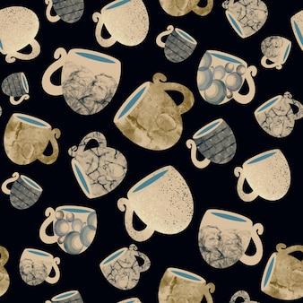 Illustration dessinée à la main de modèle sans couture de tasses d'or en céramique