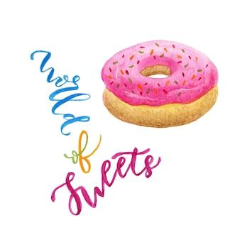 Illustration de donut aquarelle. art doux