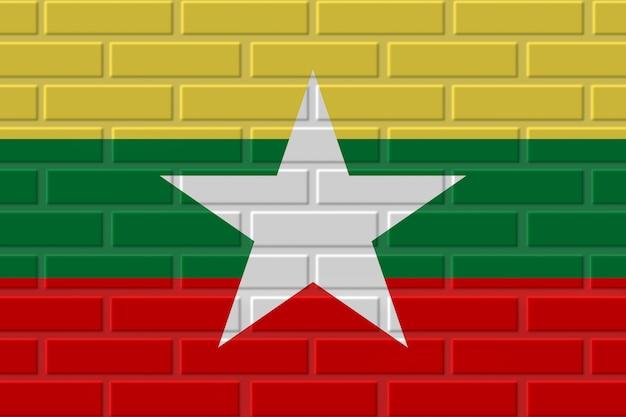 Illustration de drapeau de brique de birmanie