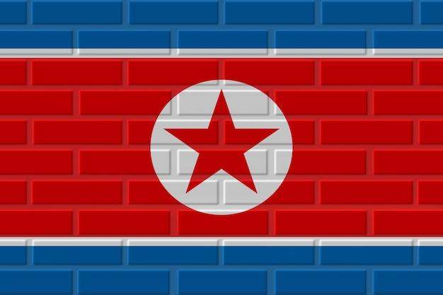 Illustration de drapeau de brique de corée du nord