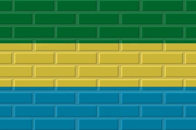Illustration de drapeau de brique du gabon