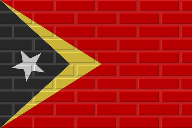 Illustration de drapeau de brique du timor oriental