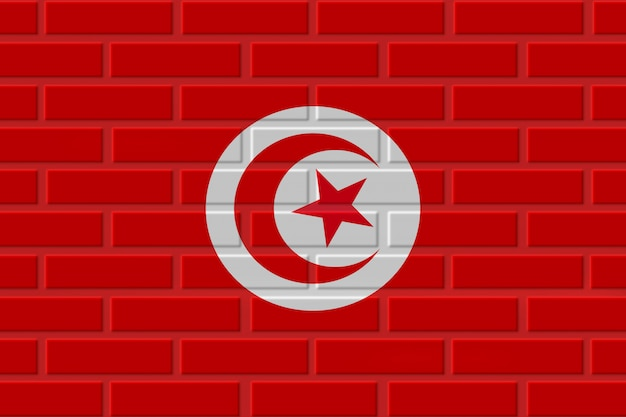 Illustration de drapeau de brique de tunisie