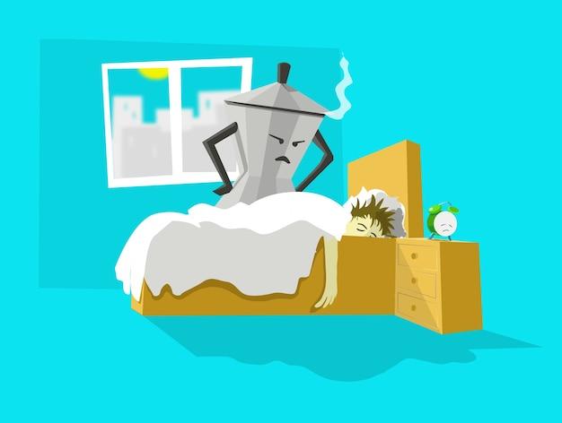 L'illustration du concept du matin se lève tôt la cafetière appelle la paresse endormie