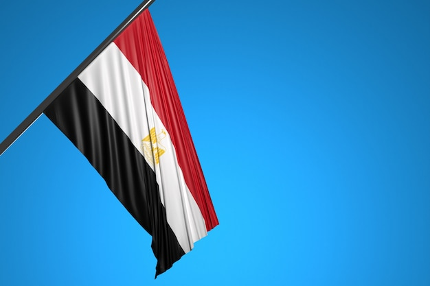 Illustration du drapeau national de la dominicana sur un mât en métal flottant contre le ciel bleu