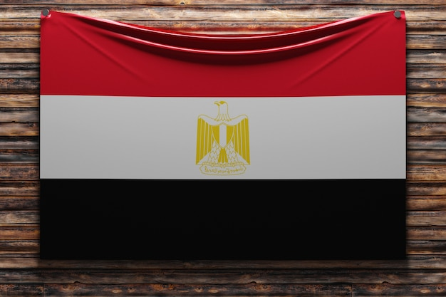 Illustration du drapeau national de l'égypte cloué sur un mur en bois