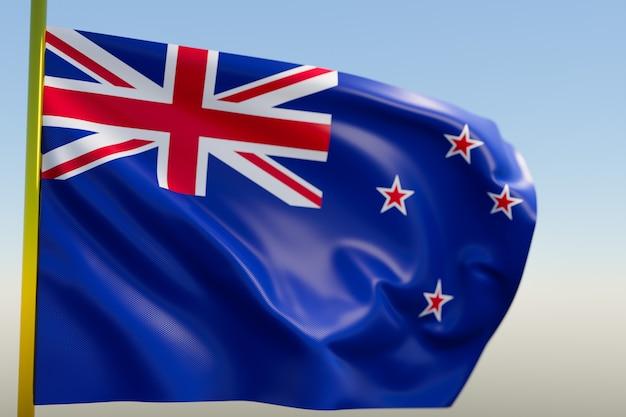 Illustration du drapeau national de la nouvelle-zélande sur un mât en métal flottant contre le ciel bleu