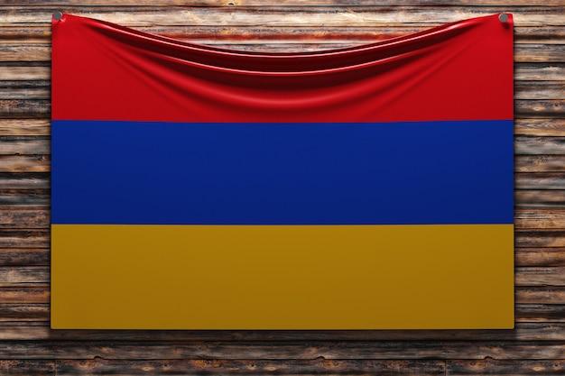 Illustration du drapeau national en tissu de l'arménie cloué sur un mur en bois