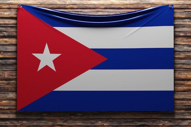 Illustration du drapeau national en tissu de cuba cloué sur un mur en bois