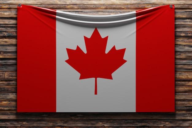 Illustration du drapeau national en tissu du canada cloué sur un mur en bois