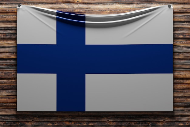Illustration du drapeau national en tissu de la finlande cloué sur un mur en bois