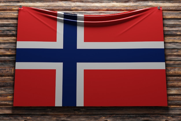 Illustration du drapeau national en tissu de la norvège cloué sur un mur en bois
