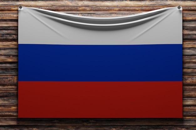 Illustration du drapeau national en tissu de la russie cloué sur un mur en bois