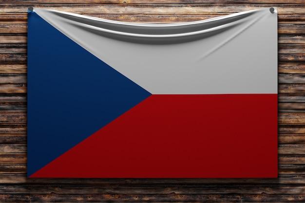 Illustration du drapeau national en tissu tchèque cloué sur un mur en bois