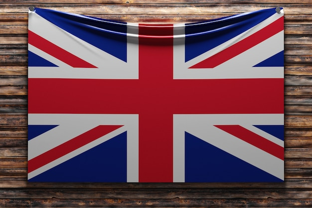 Illustration du drapeau en tissu national du royaume-uni cloué sur un mur en bois