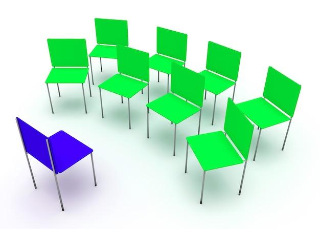 Illustration du leadership dans l'entreprise. une chaise rouge et quatre chaises bleues.