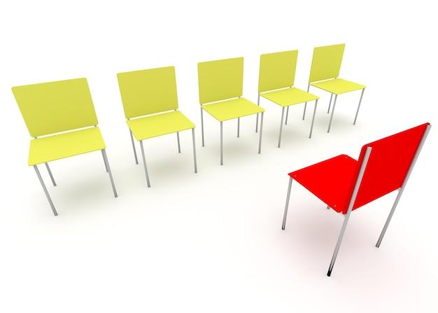 Illustration du leadership dans l'entreprise une chaise rouge et quatre jaunes